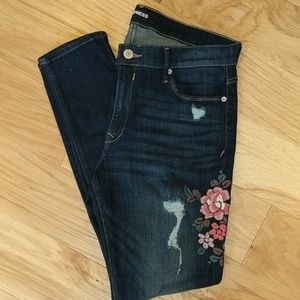 Express Jean Legging W Floral Embroidery Size 14R